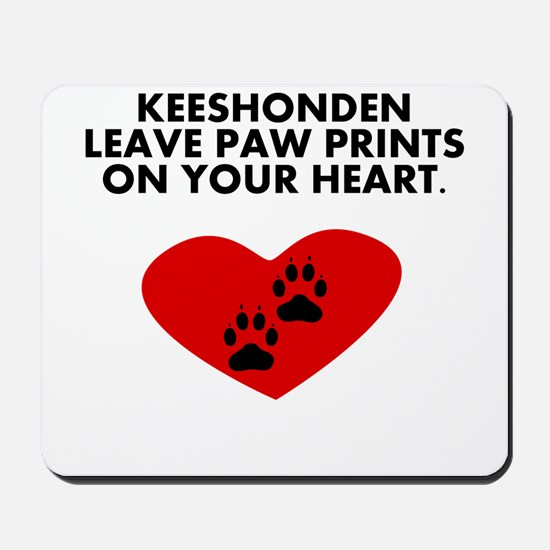 Keeshonden Leave Paw Prints On Your Heart Mousepad