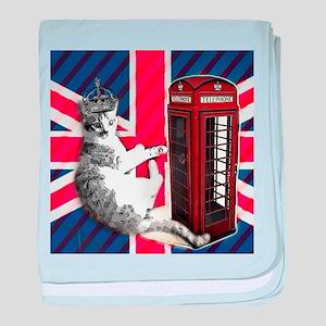 modern london cat baby blanket