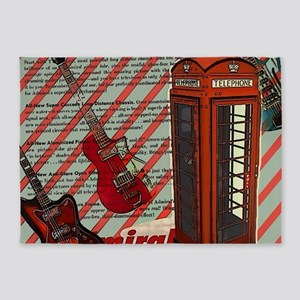 fashion london telephone guitar 5'x7'Area Rug