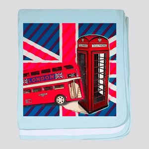 telephone booth london bus baby blanket