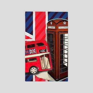 telephone booth london bus Area Rug