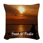 Sunset in Paradise Woven Throw Pillow