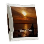 Sunset in Paradise Burlap Throw Pillow