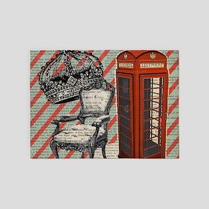 vintage telephone booth london 5'x7'Area Rug