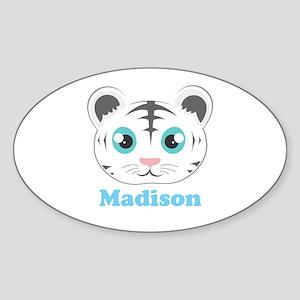 Custom Name Cute White Tiger Sticker (Oval)
