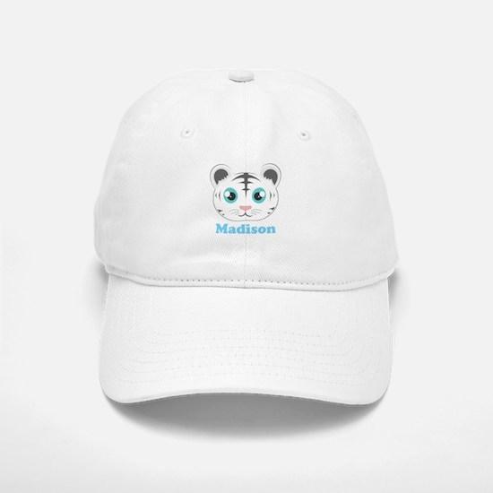 Custom Name Cute White Tiger Baseball Baseball Cap