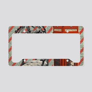 vintage telephone booth londo License Plate Holder