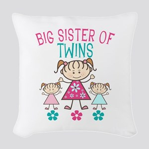 Big Sister Of Twins Woven Throw Pillow