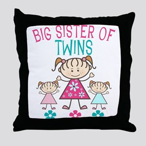 Big Sister of Twins Throw Pillow