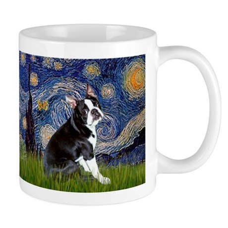 Starry Night & Boston Terrier Mug