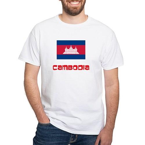 Cambodia Flag Retro Red Design T-Shirt