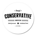 Proud Conservative American Round Car Magnet
