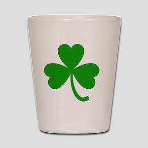 3 Leaf Kelly Green Shamrock with Stem Shot Glass