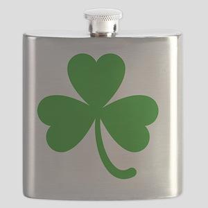 3 Leaf Kelly Green Shamrock with Stem Flask