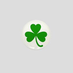 3 Leaf Kelly Green Shamrock with Stem Mini Button