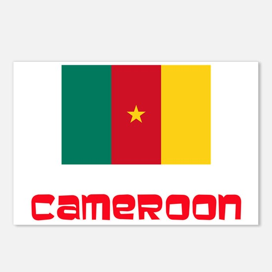 Cameroon Flag Retro Red D Postcards (Package of 8)