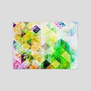 Green Geometric Grungy Diamond Patt 5'x7'Area Rug