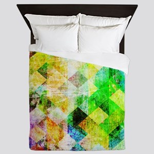 Green Geometric Grungy Diamond Pattern Queen Duvet