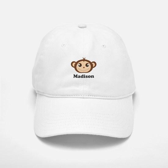 Custom Name Cute Happy Monkey Baseball Baseball Cap