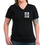 Jacquard Women's V-Neck Dark T-Shirt