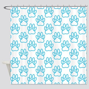 Blue Neon Dog Paws Shower Curtain