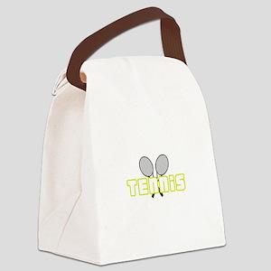 OPEN TENNIS W RAQUETS Canvas Lunch Bag