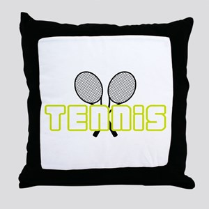 OPEN TENNIS W RAQUETS Throw Pillow
