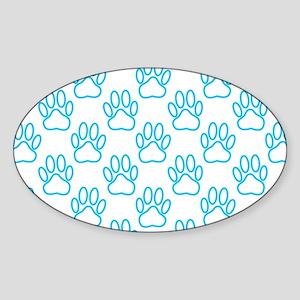 Blue Neon Dog Paw Sticker