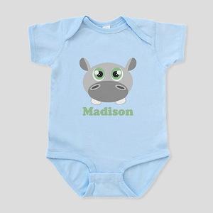 Custom Name Cute Hippo Infant Bodysuit