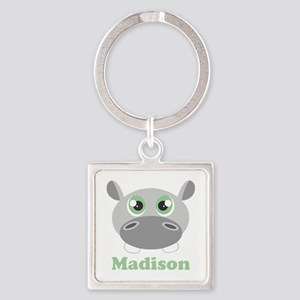 Custom Name Cute Hippo Square Keychain