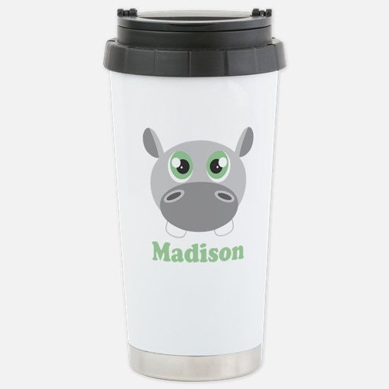 Custom Name Cute Hippo Stainless Steel Travel Mug