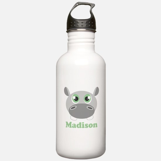 Custom Name Cute Hippo Water Bottle