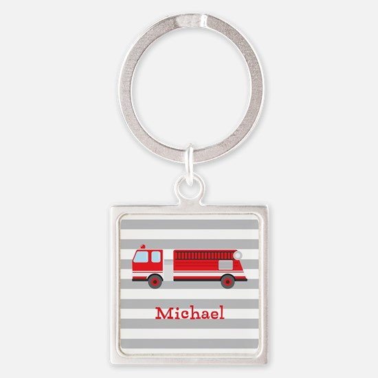 Personalized Kids Red Fire Truck Keychains