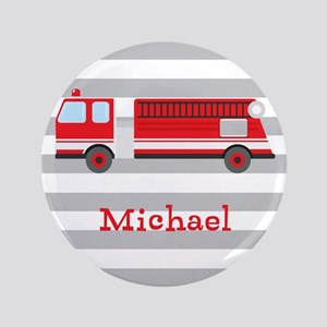 "Personalized Kids Red Fire Truck 3.5"" Button"