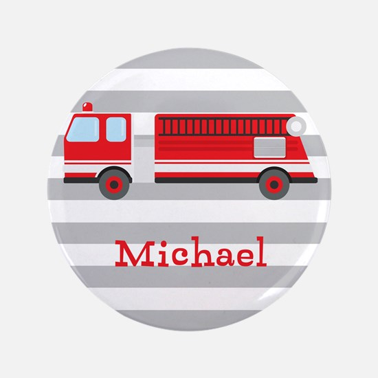 """Personalized Kids Red Fire Truck 3.5"""" Button"""