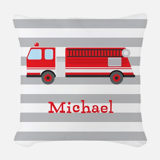 Personalized Kids Red Fire Truck Woven Throw Pillo