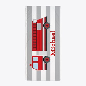 Personalized Kids Red Fire Truck Beach Towel