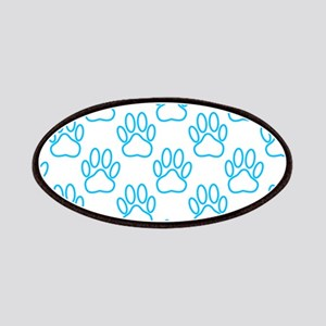Blue Neon Dog Paws Patches