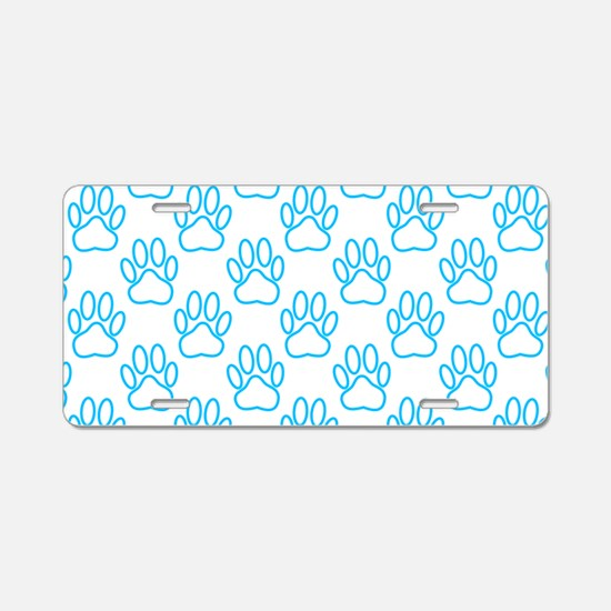 Blue Neon Dog Paws Aluminum License Plate