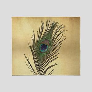 Vintage Peacock Feather Throw Blanket