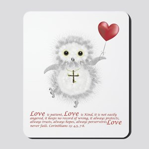 Flying Valentine With Corinthians 13: 4, Mousepad