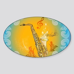 Saxophone with clef in soft yellow, blue color Sti