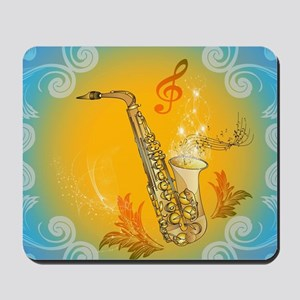 Saxophone with clef in soft yellow, blue color Mou