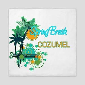 Palm Trees Circles Spring Break COZUM Queen Duvet