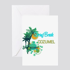 Palm Trees Circles Spring Break CO Greeting Cards