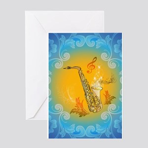 Saxophone with clef in soft yellow, blue color Gre