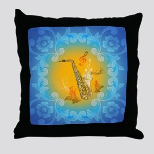 Saxophone with clef in soft yellow, blue color Thr