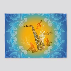 Saxophone with clef in soft yellow, blue color 5'x