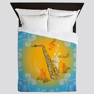 Saxophone with clef in soft yellow, blue color Que