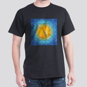 Saxophone with clef in soft yellow, blue color T-S